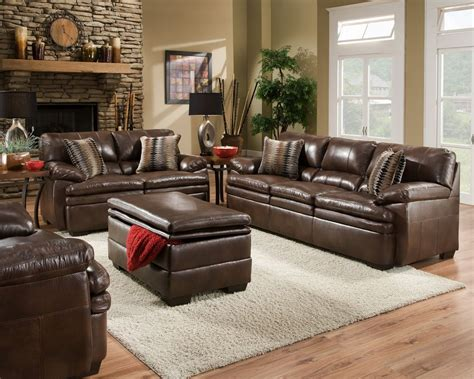 Brown Living Room Chairs Brown Bonded Leather Sofa Set Casual Living Room Furniture W Accent Pillows Ebay