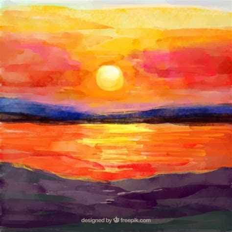 water color sunset watercolor sunset background vector free
