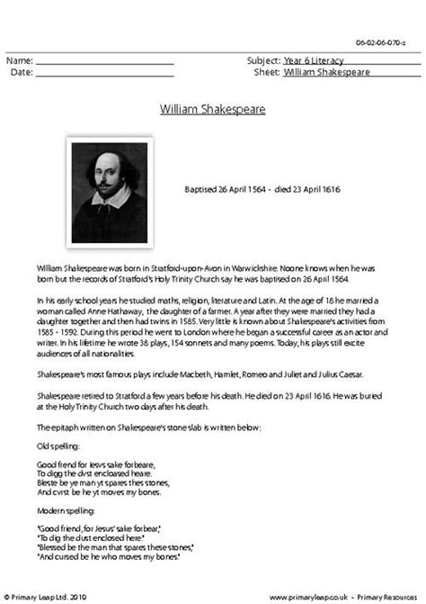 tense biography text worksheets shakespeare worksheets opossumsoft worksheets