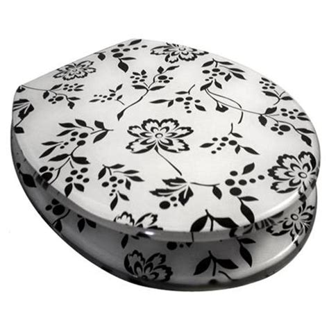 black and white printed pattern toilet seats euroshowers black and white print resin toilet seat