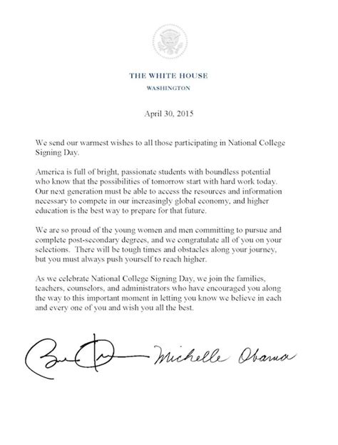Junior College Letter Of Intent on college signing day obama asks students to reach higher whitehouse gov