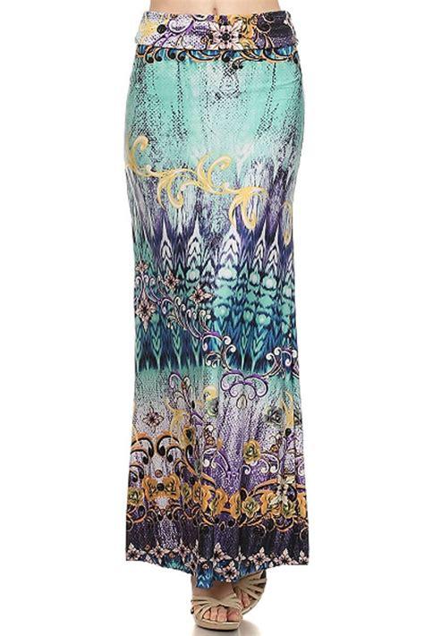 plus size boho tribal print maxi knit skirt