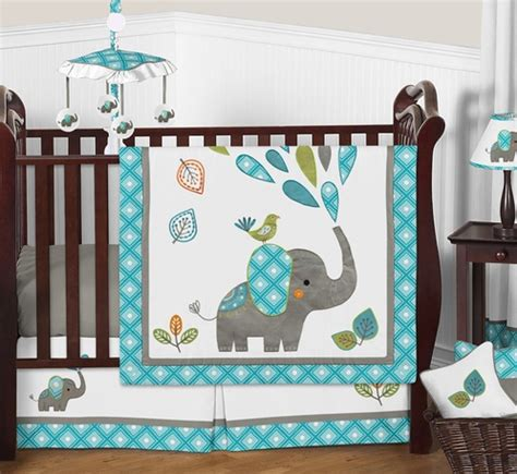 Mod Elephant Baby Bedding 4pc Boy Or Girl Crib Set By Elephant Crib Bedding For Boys