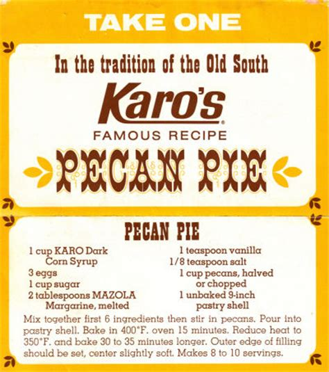 karos pecan pie recipe vintage clipping recipecuriocom