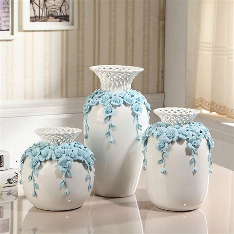 flower vase decoration home modern hollow out ceramic flower vase decoration carved tabletop handmade vase wedding gift in