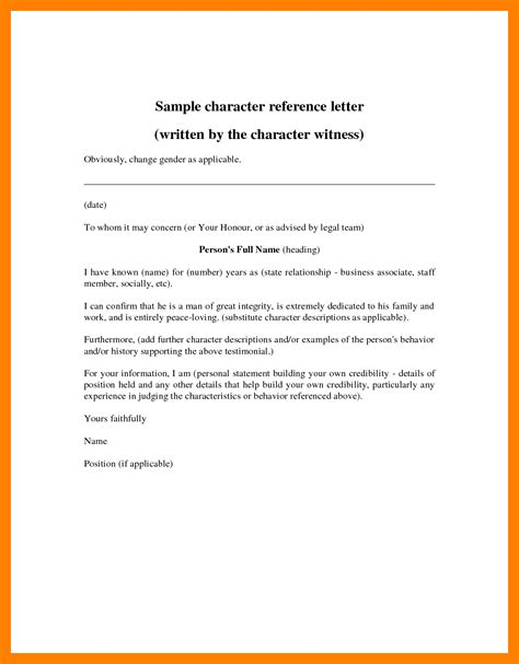 Reference Letter For Employee To Embassy Marchigianadoc Tk Character Affidavit Template