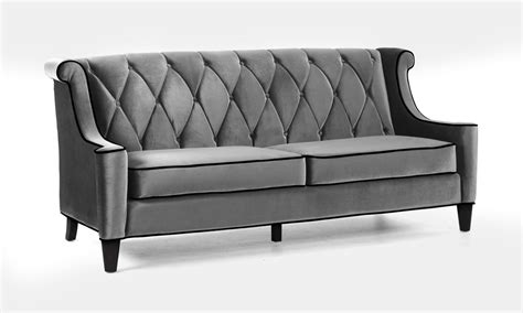 armen living barrister sofa armen living barrister sofa set gray velvet black piping
