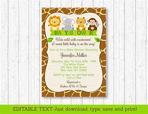 printable jungle animal baby shower invitations cute jungle safari animals printable baby shower