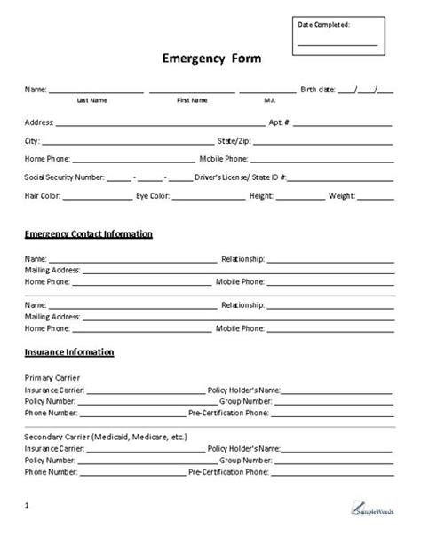 Emergency Contact And Medical Information Template Employee Emergency Contact Form Beautiful Emergency Medicine H P Template