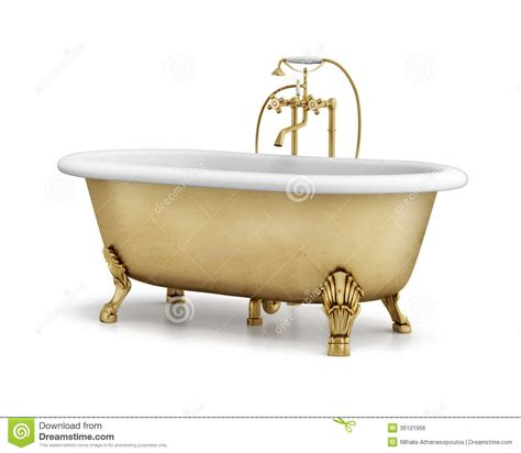 bronze bathtub isolated gold bronze classic bathtub on white stock