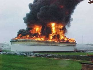frangible roof seam & (1) a storage tank full surface fire