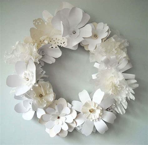 Paper Craft Flowers - paper flower garland beautiful white craft