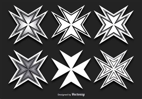 maltese cross shapes   vectors clipart