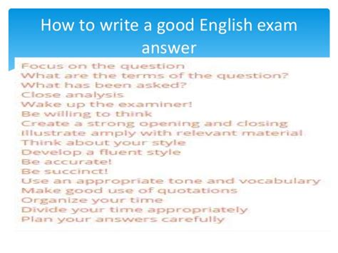 how to write a how to write a good english exam answer