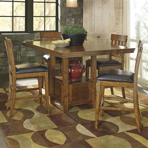ashley signature design ralene casual dining table set   bar stools dunk bright