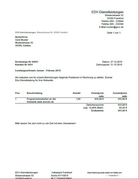 Muster Ordentliche Rechnung Einfache Rechnung Schreiben Kostenlos