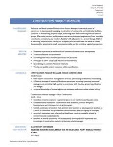 Construction Project Manager Resume Sample Construction Project Manager Resume Resume Format