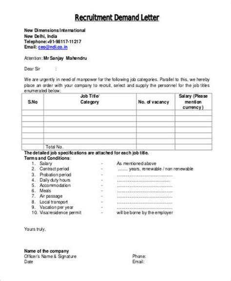 Demand Letter Manpower Recruitment 44 Exles Of Formal Letters