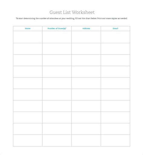 rsvp list template 6 free wedding guest list templates excel pdf formats