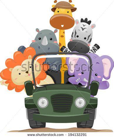 cartoon safari jeep jeeps in jungle cartoon illustration featuring cute