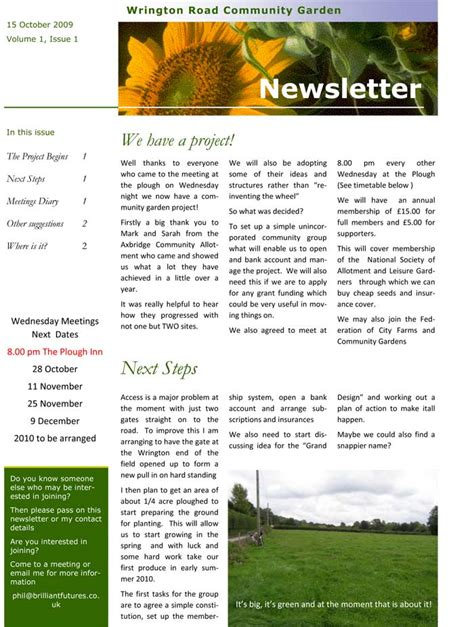 community gardening project newsletter 1