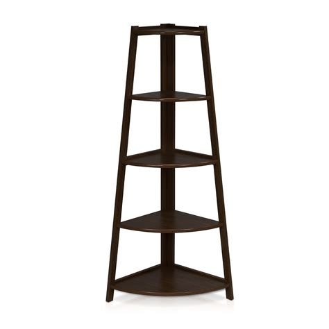 187 Furinno 5 Tier Corner Ladder Shelf With Espresso Black Espresso Ladder Bookcase