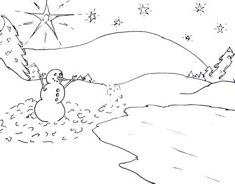 snowman scene coloring page 12 1 13 1 1 14 kids creative chaos