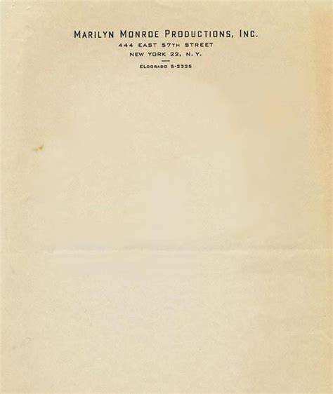 vintage business letterhead marilyn productions letterhead 1962 and