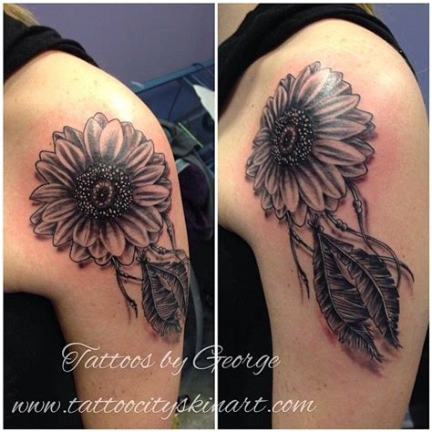 tribal sunflower tattoo sunflower catcher black and grey by george