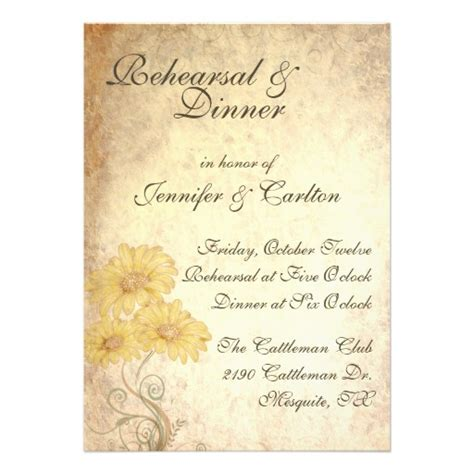 wedding rehearsal dinner invitations sunflowers wedding rehearsal dinner invitation zazzle