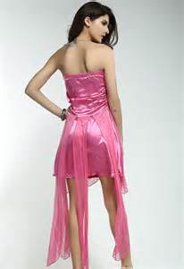 Sexy satin bandeau evening dress chiffon rhinestone pink lc6116 2 3
