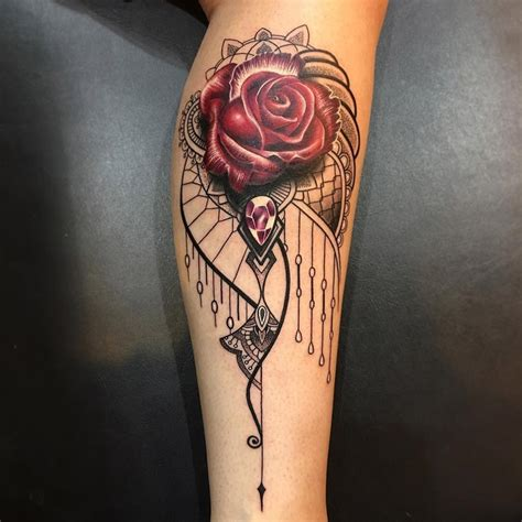 elegant ornamental rose amp jewel best tattoo design ideas