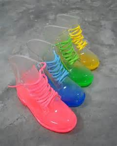 color boots jelly shoes and sandals