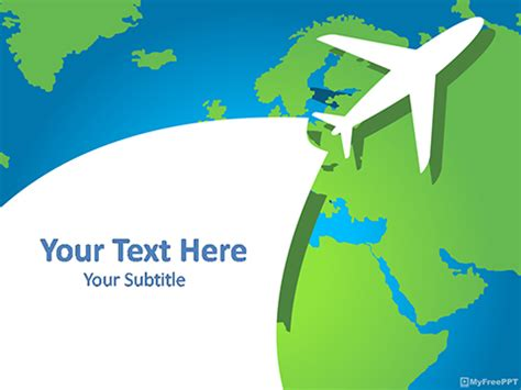 Free Airplane Powerpoint Templates Myfreeppt Com Travel Powerpoint Template
