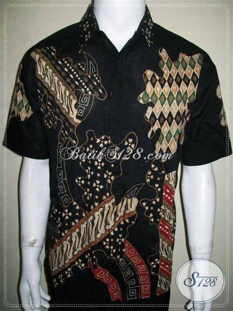 Izzue Kemeja Pendek Printing Black baju batik pria lengan pendek warna hitam elegan untuk