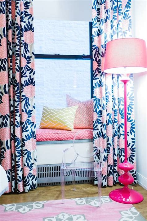 Pink And Navy Curtains Window Seat Contemporary S Room L Kate Interiors