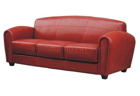 Red Full Leather Sofa 2 Chairs Set