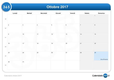 Calendario Ottobre 2017 Calendario Ottobre 2017