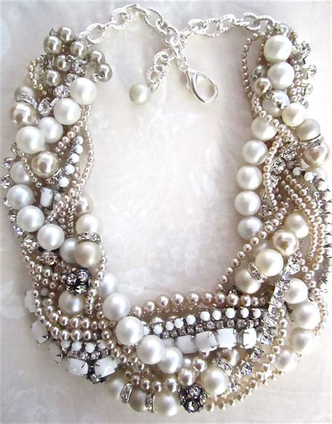 chunky pearl rhinestone necklace white bridal by