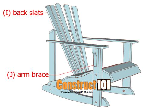 Slat Chair Plans by Adirondack Rocking Chair Plans Construct101