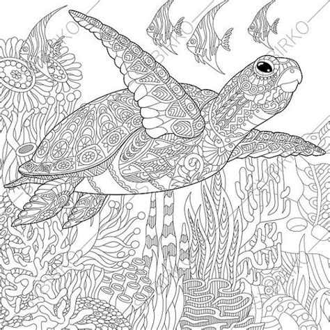 marvelous sea turtles coloring book for adults stress relief coloring book for grown ups books coloring page sea turtle zentangle doodle coloring