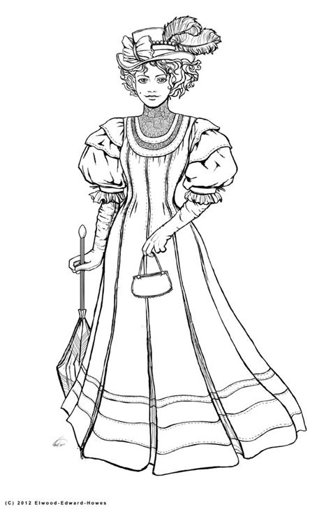 coloring pages of victorian ladies how to draw