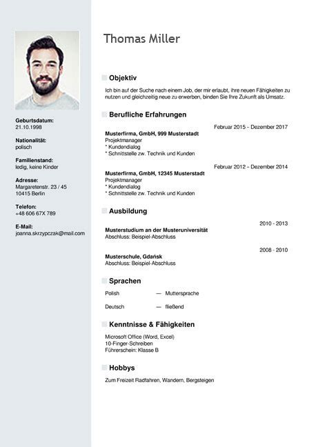 Lebenslauf Template Curriculum Vitae Resume Template Sle German Austria