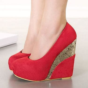 new red platform wedge heels shoes glitter gold sequined