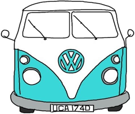 hippie van drawing car vw stickers redbubble