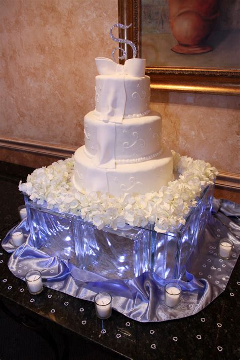 glass block wedding cake stand with led lights inside
