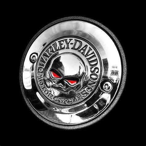 Emblem Harley New Skull the chrome willie g davidson skull logo or emblem on a classic harley motorcycle looking evil