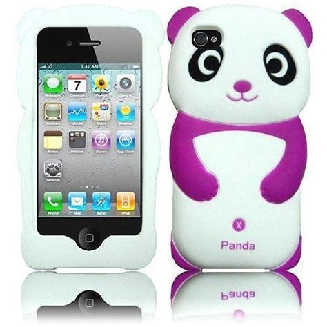 Animal Black For Iphone 4 4s purple and white panda 3d animal soft skin cover
