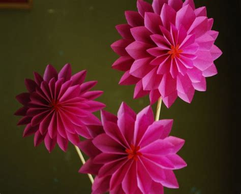 Of Paper Flowers - pink dahlia paper flowers onewed