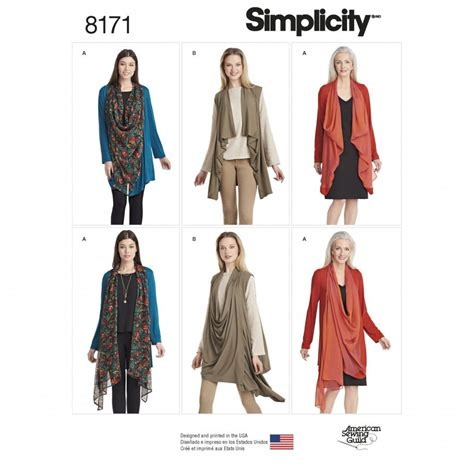 pattern sewing online simplicity sewing pattern 8171 a knit cardigan or vest